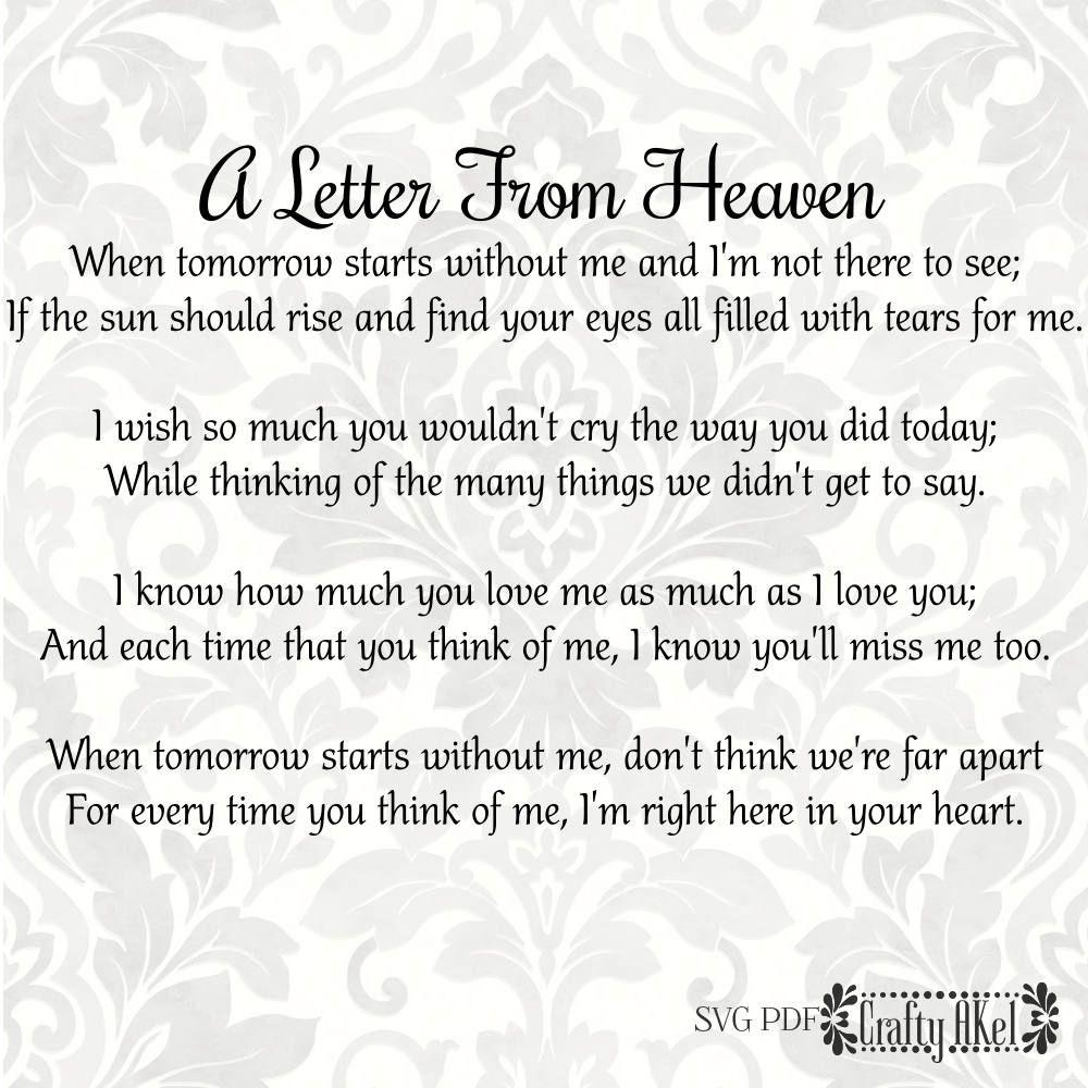 Bereavement svg - A Letter From Heaven - Mourning svg - Sympathy svg - Grief  svg - Funeral svg - + 1 PDF by CraftyAKel on Etsy