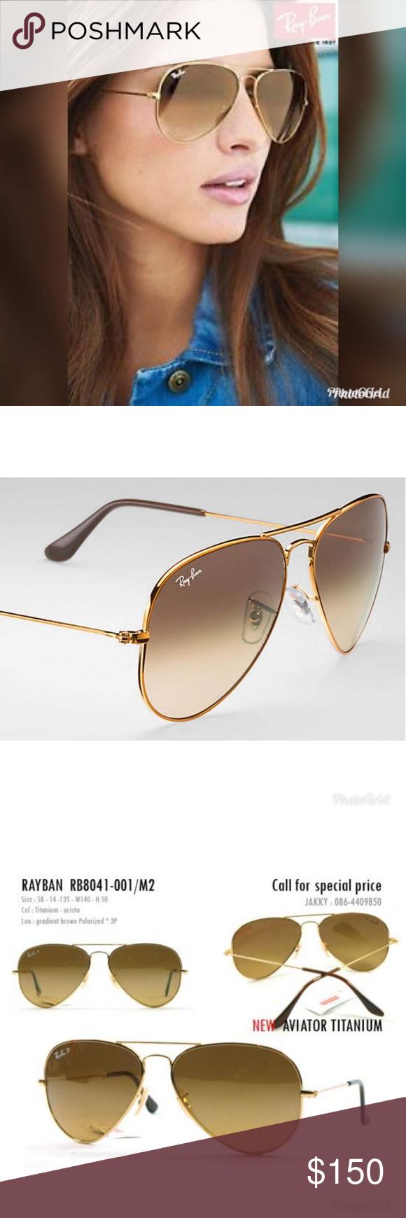 3ad90b7ca62d Ray Ban RB8041 Titanium Aviators - Gold/Brown Grad Ray-Ban Sunglasses -  RB8041