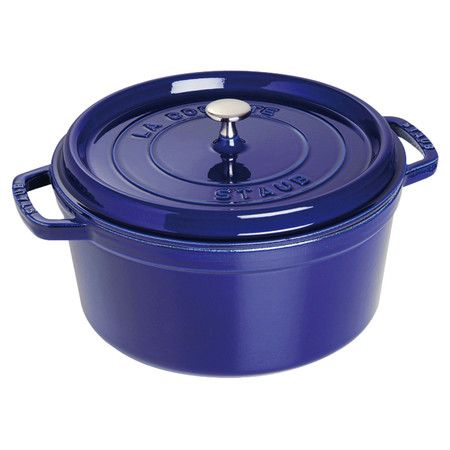 Cast iron round cocotte in dark blue. Induction hob compatible.     Product: CocotteConstruction Material: Cast i...