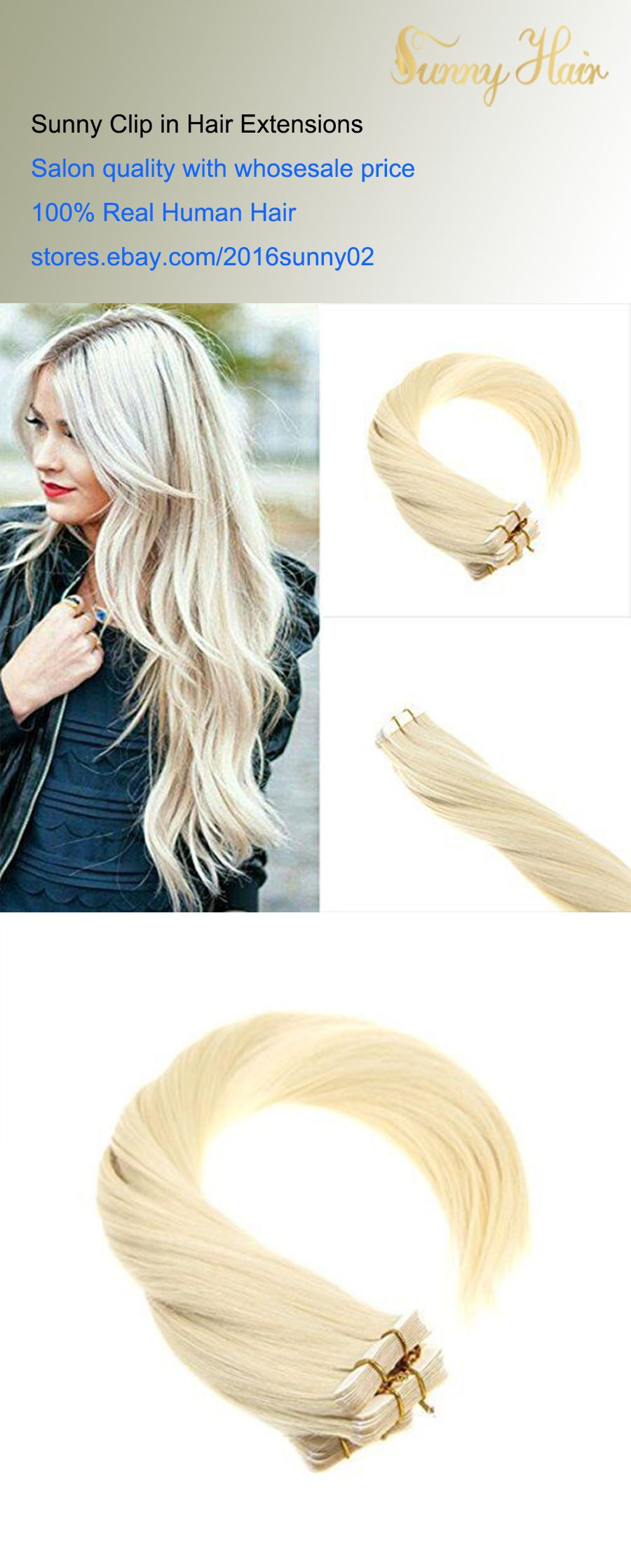 Sunny Hair Remy Tape In Hair Extensions White Blonde Real Human Hair