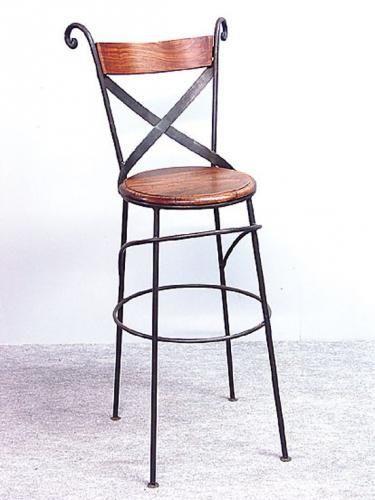 tabouret de bar palissandre/fer forgé croisé   tabourets de bar