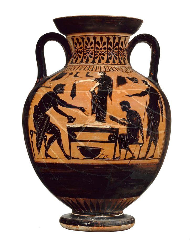 Two Handled Greek Jar Amphora Museum Of Fine Arts Boston Shoemaker S Shop A Young Woman Ancient Greek Art Ancient Greek Pottery Ancient Greek Sculpture