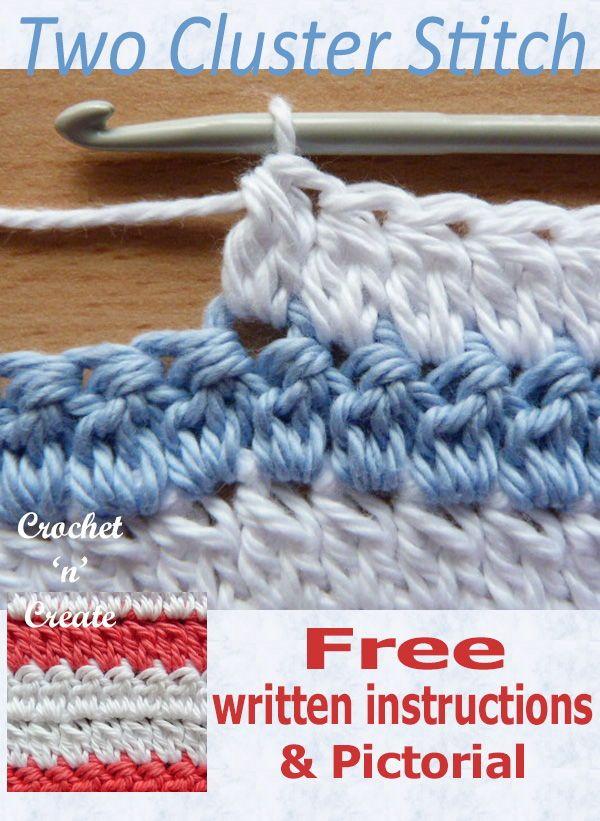 Crochet Two Cluster Stitch Pictorial #crochetstitchespatterns