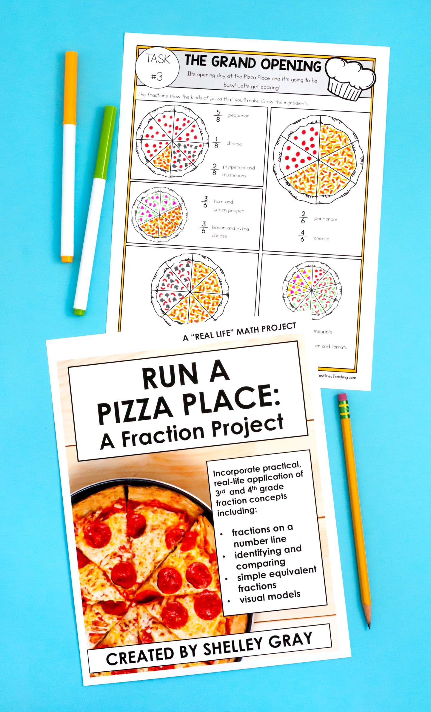 Run A Pizza Place A Fraction Math Project 3rd 4th Grade Distance Learning Math Projects 4th Grade Fractions Real Life Math [ 2382 x 1444 Pixel ]
