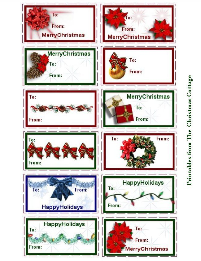 cottage sheet printable tags | ... then print the actual sheet of gift tags. Merry Christmas!! ~Marvaline