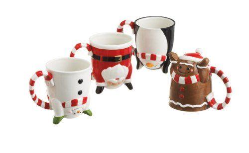 Set Of 4 Whimsical Upside-Down Christmas Mugs Item #281635