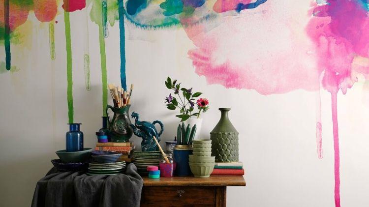 Aquarell Wandfarbe Wandgestaltung Bunte Farben Selber Machen