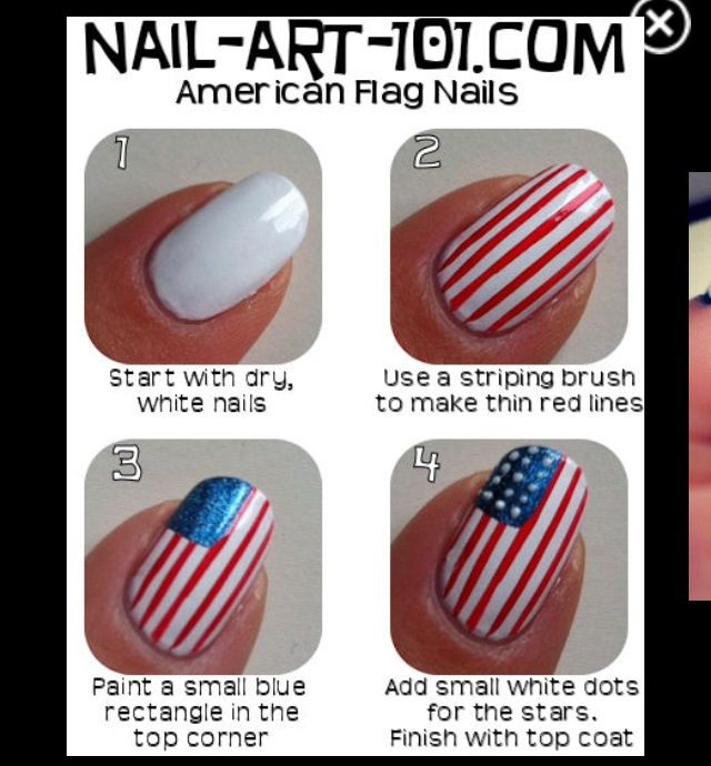 But The Flag By The Cuticle American Flag Nails Flag Nails Diy
