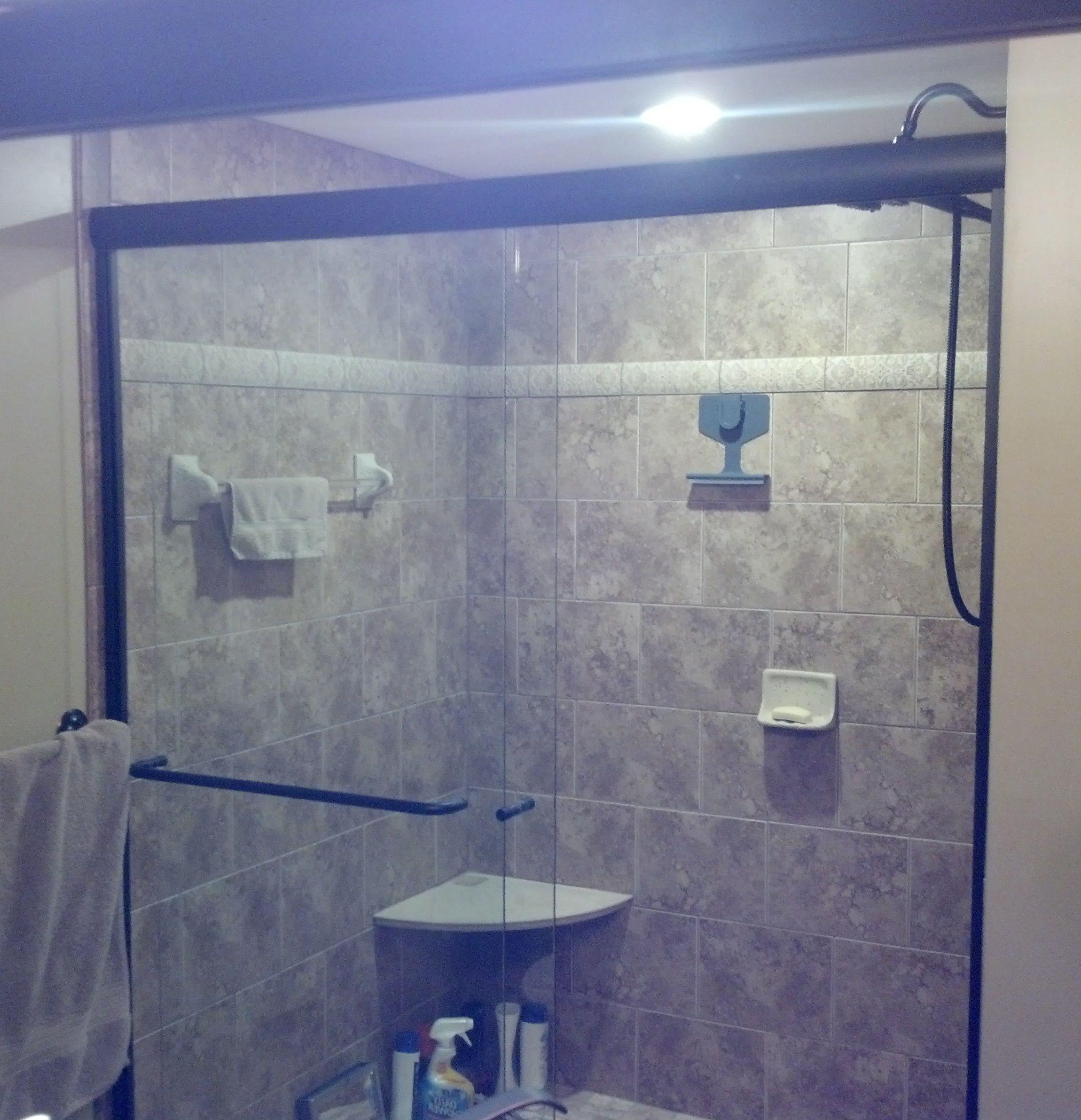 Shower Door Roman Inspired Tiled Shower With Venetian Bronze
