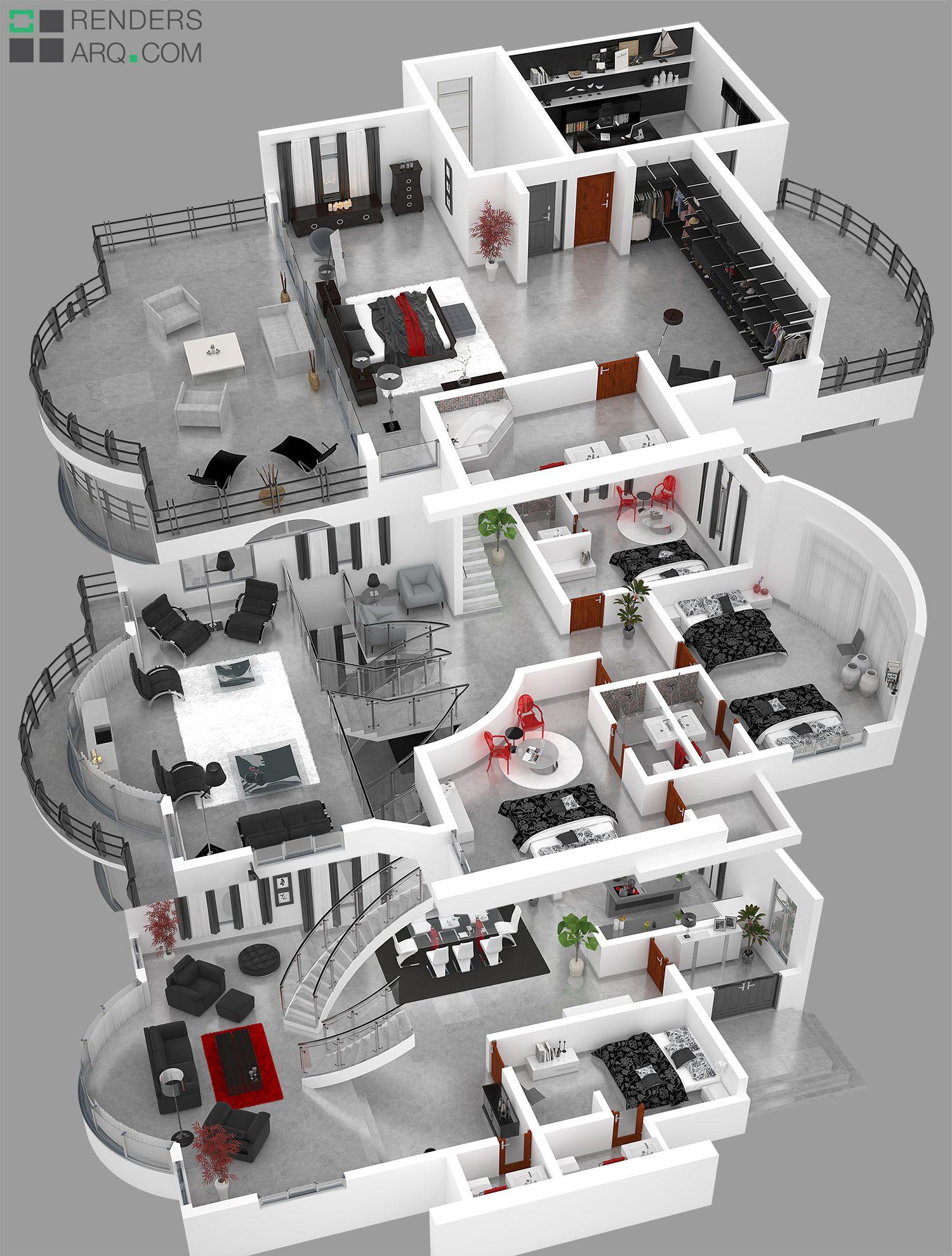 Plantas 3d Planejar Casa Dos Sonhos Arquitetura Casas E
