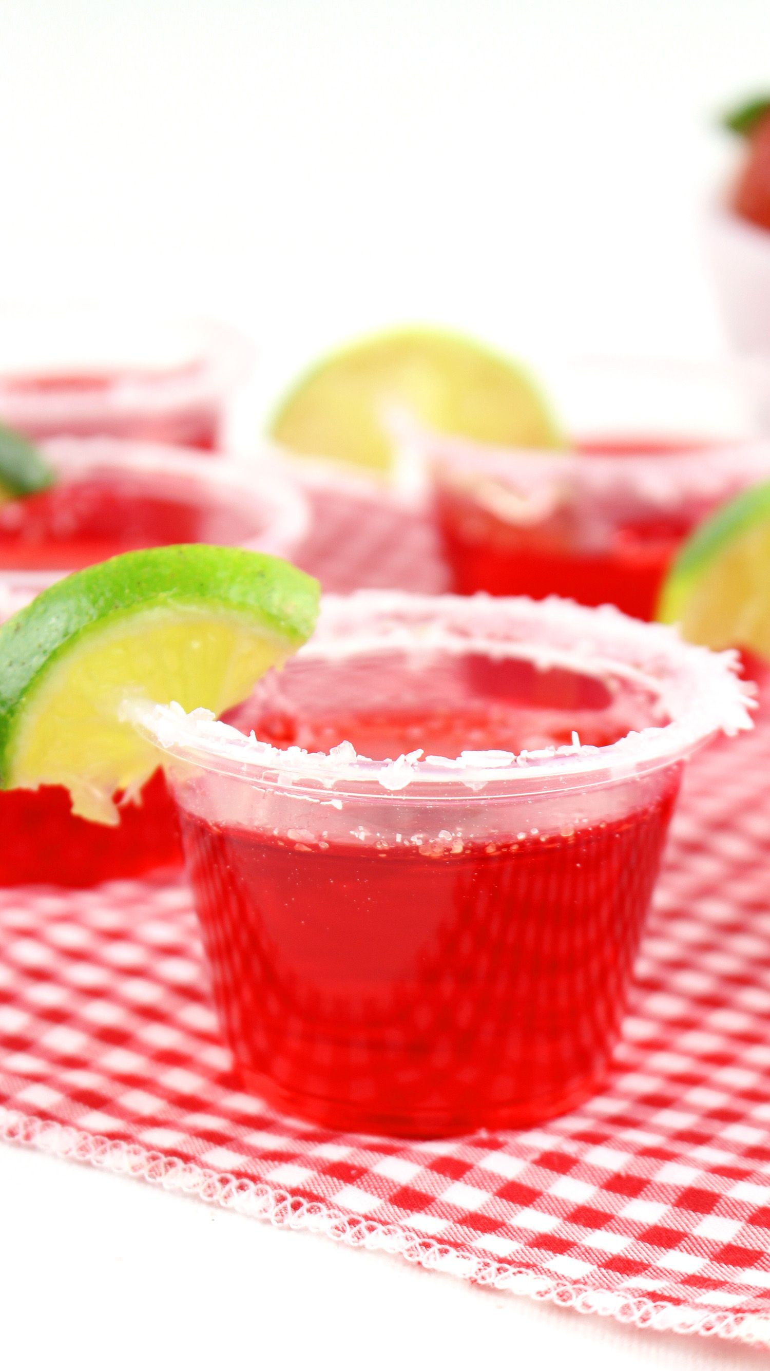 Strawberry Margarita Jello Shots With A Lime Garnish Margarita Jello Shots Strawberry Margarita Jello Shots Jello Shots