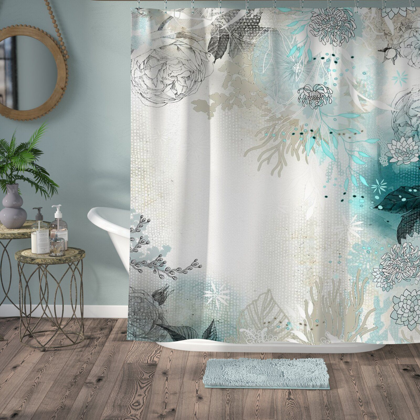 Bungalow Rose Holley Seafoam Single Shower Curtain Curtains