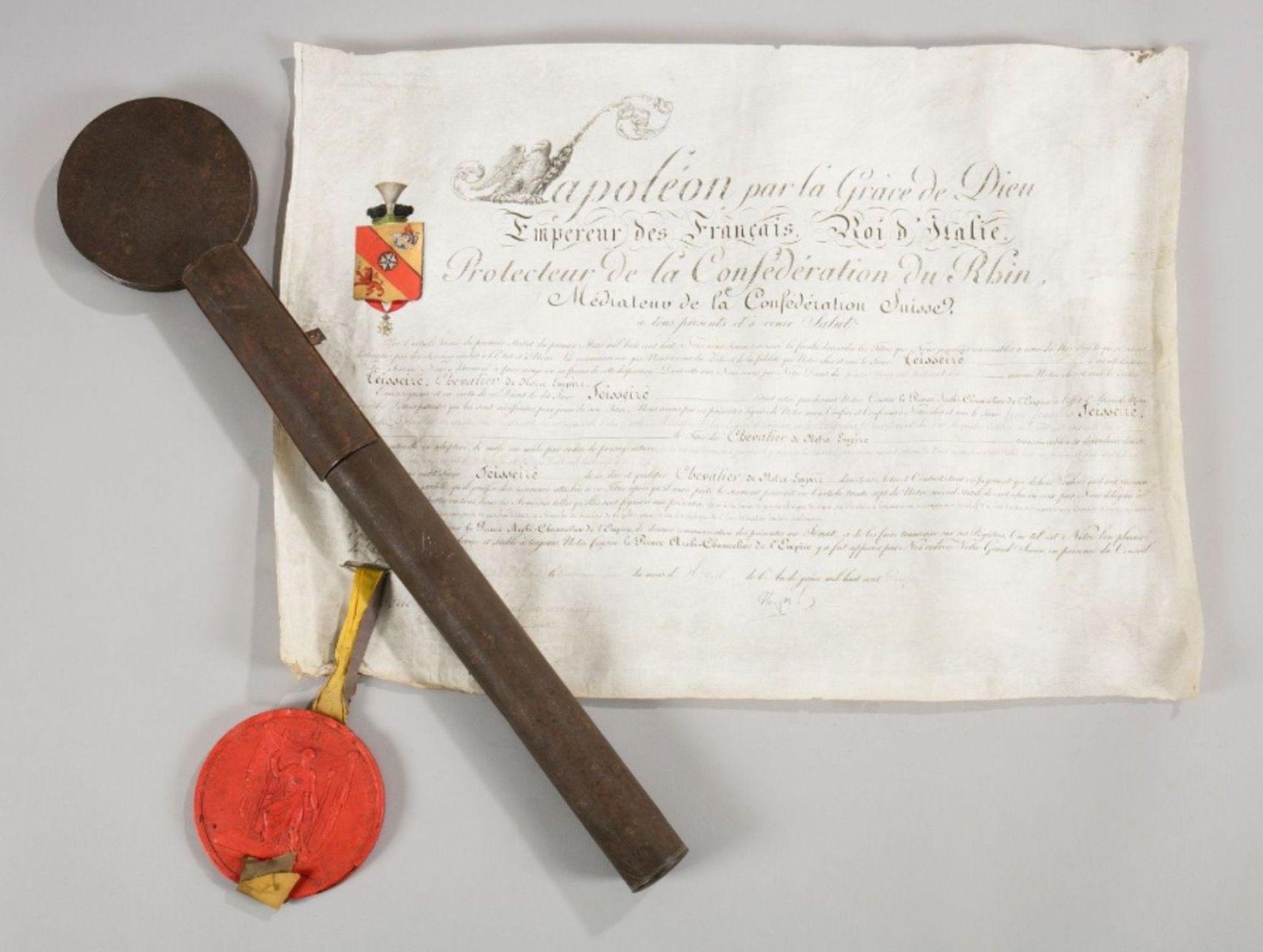 Lettres patentes du chef de bataillon Teisseire du 4 régiment des voltigeurs de la garde