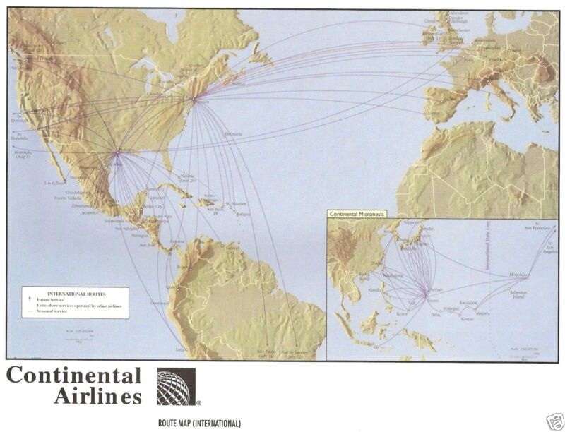 Continental Airlines Route Map from Continental Airlines-Northwest Airlines Alliance Guidebook