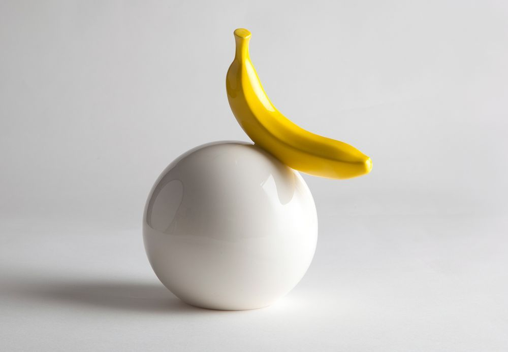 Banana on a 16cm ball - ceramic sculpture via studiokahn. Click on the image to…