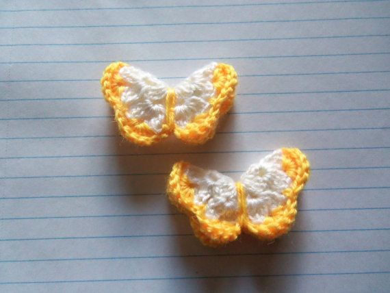 Yellow and White Crochet Butterflies by Roxana010 on Etsy, $2.00 New items added to my shop.