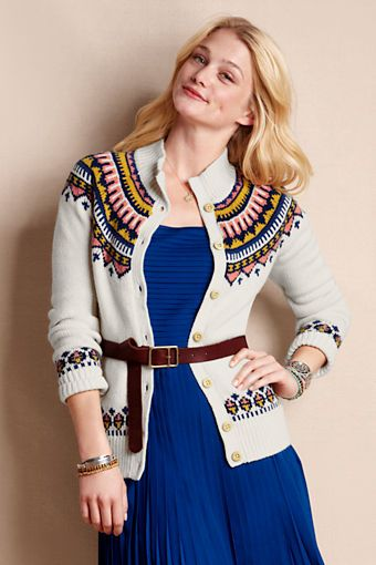 Women's Lambswool Fair Isle Cardigan from Lands' End Canvas ...