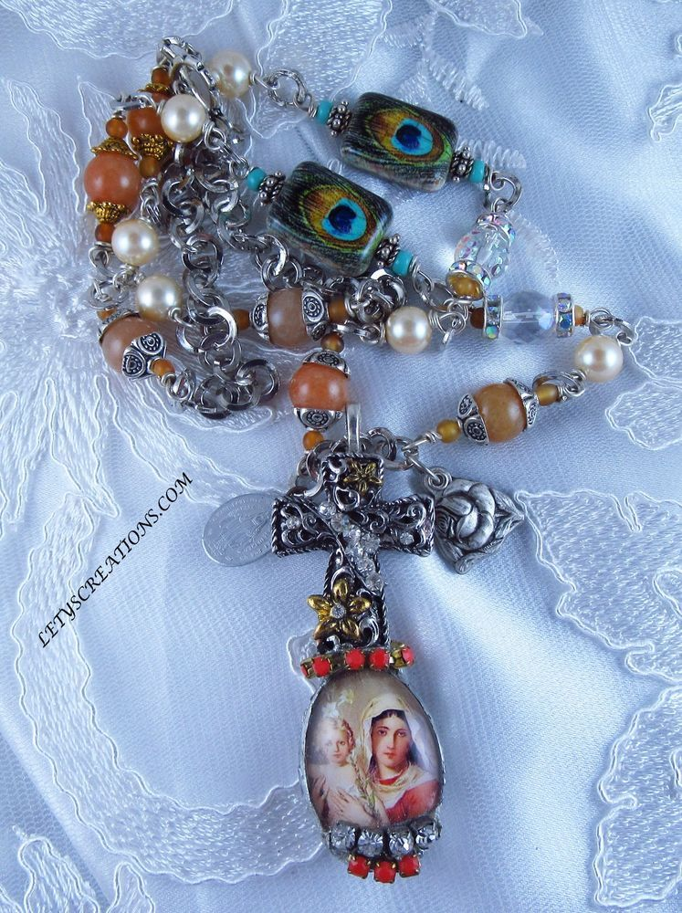 Catholic Virgin Mary Gemstones Religious Medals Handmade Necklace #Handmade #HolyMedalPendant http://stores.ebay.com/LETYS-CREATIONS