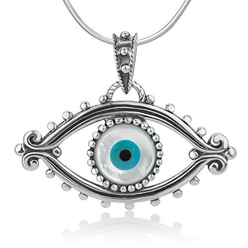 925 Oxidized Sterling Silver Evil Eye Lucky Eye Hamsa Protection Amulet Pendant Necklace 18 Chain * For more information, visit image link.