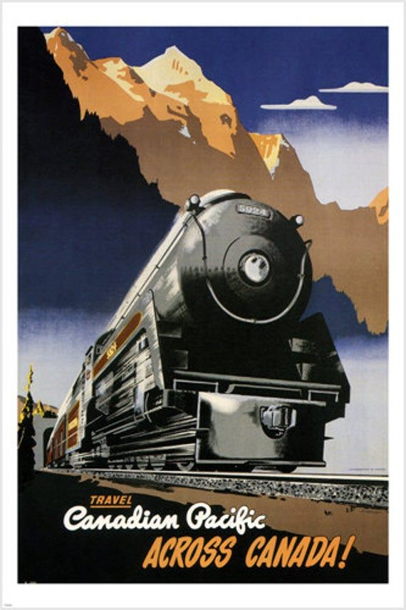 New York Chicaco vintage train travel poster repro 12x18