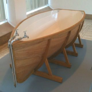 Bath boat. Love the idea! Wood, with epoxy and paint inside. By ...
