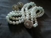 Vintage Pearls & AB Rhinestone Clip Earrings $35.00
