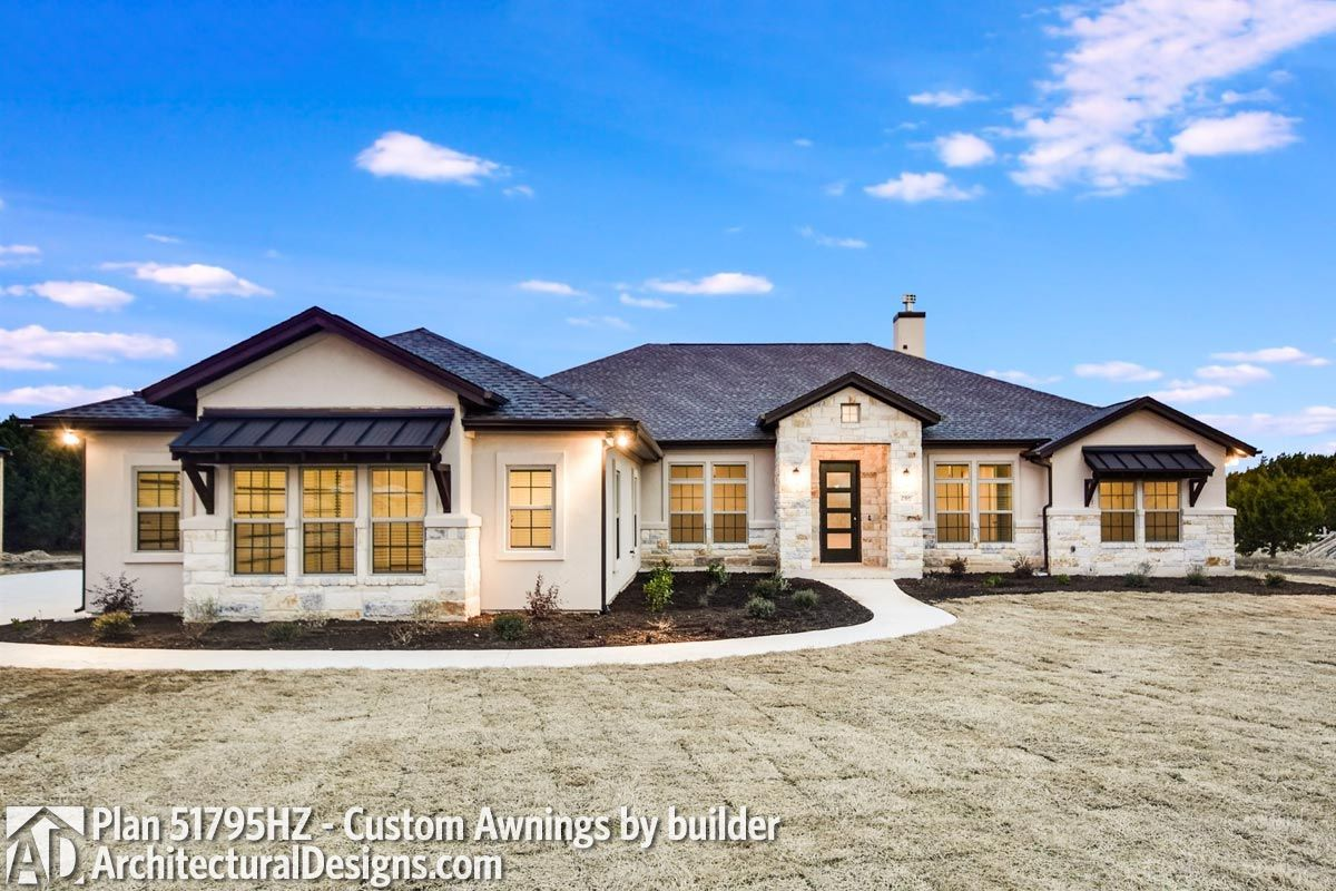 Plan 51795hz One Story Living 4 Bed Texas Style Ranch Home Plan In 2021 Home Styles Exterior Ranch House Plans House Styles
