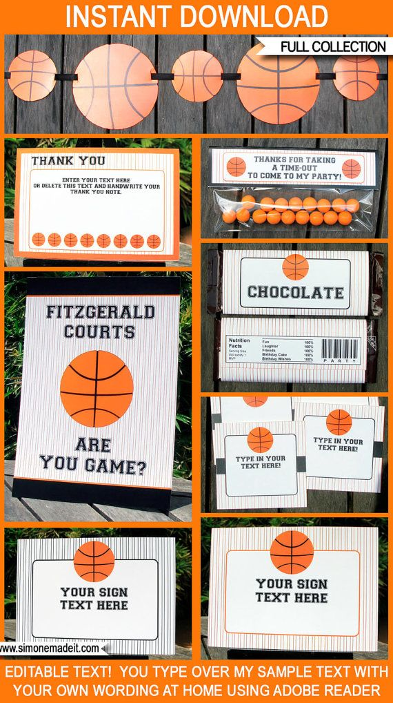 Basketball Birthday Party Decorations Invitation By SIMONEmadeit