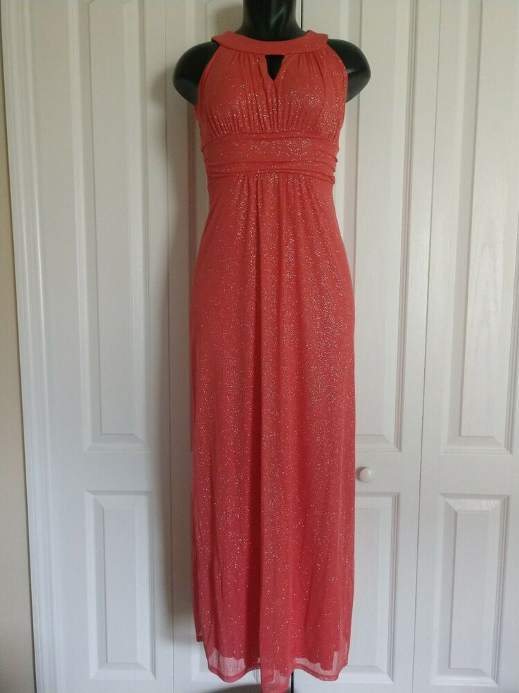 b5dc46b0e9 SWEET STORM Party Empire Waist Long Dress Coral and silver Size Small  Graduation  fashion