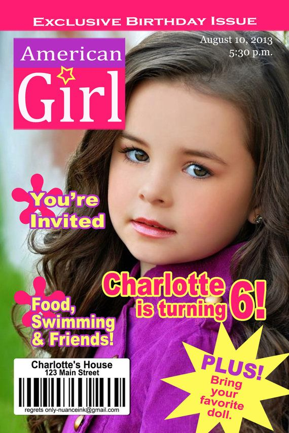 15 Custom American Girl Doll Magazine Birthday Party by NuanceInk – Doll Party Invitations