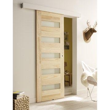 Porte coulissante vitrée, 204 x 73 cm - 89\u20ac - LM Déco Pinterest - Roulette Porte De Placard Coulissante