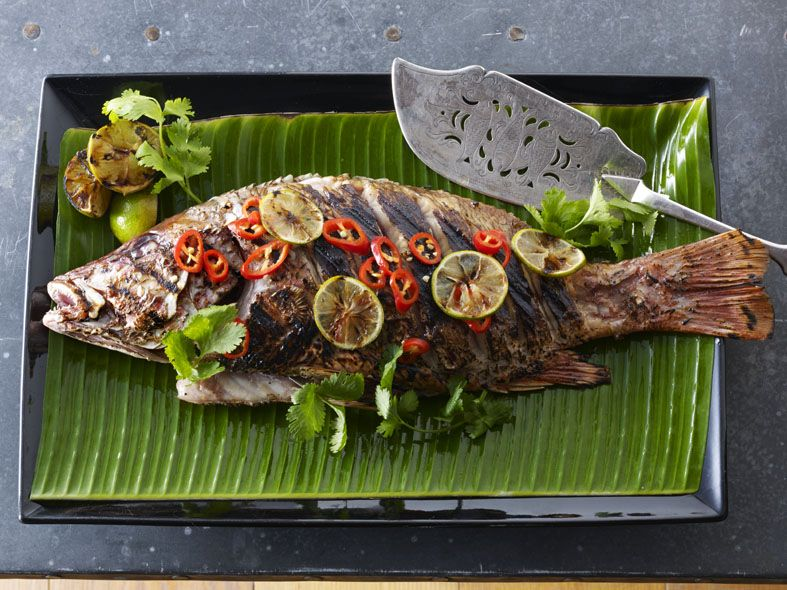 Bbq whole seabass stuffed with ginger and lemongrass with