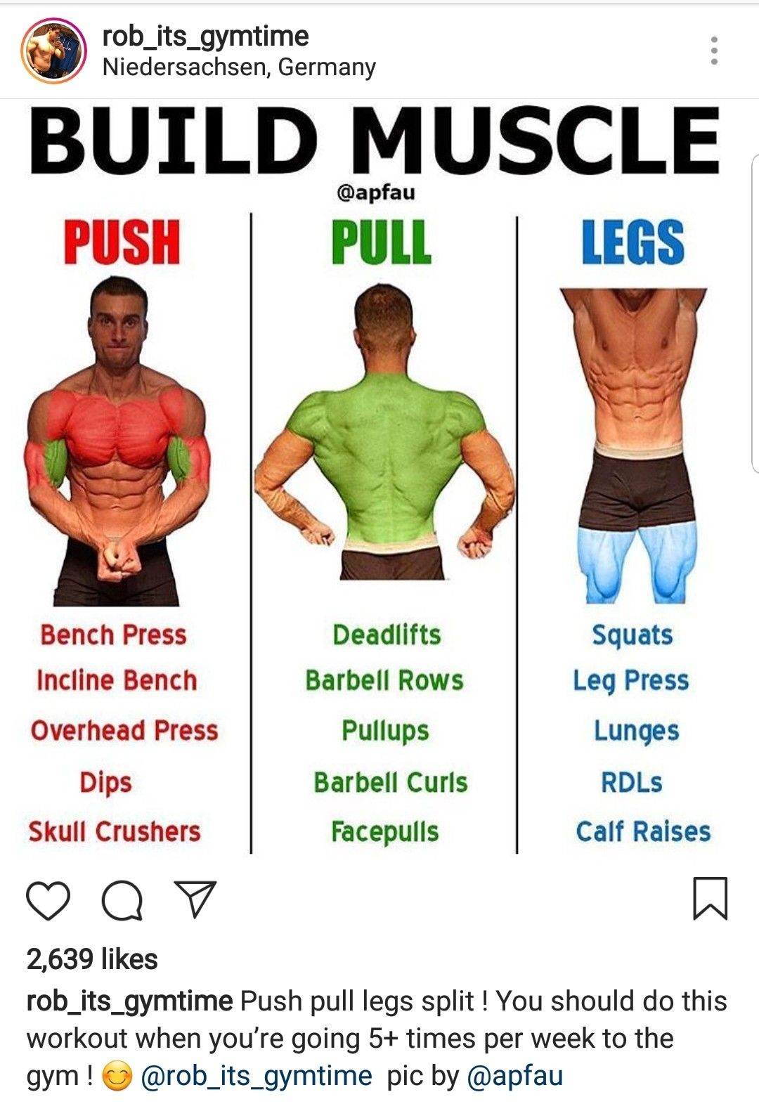 Build Muscle Splitting Ur Routine Into Push Day A Pull Day And A Leg Day If U Plan To Workout More Than 5 Push Workout Pull Day Workout Bodybuilding Workouts