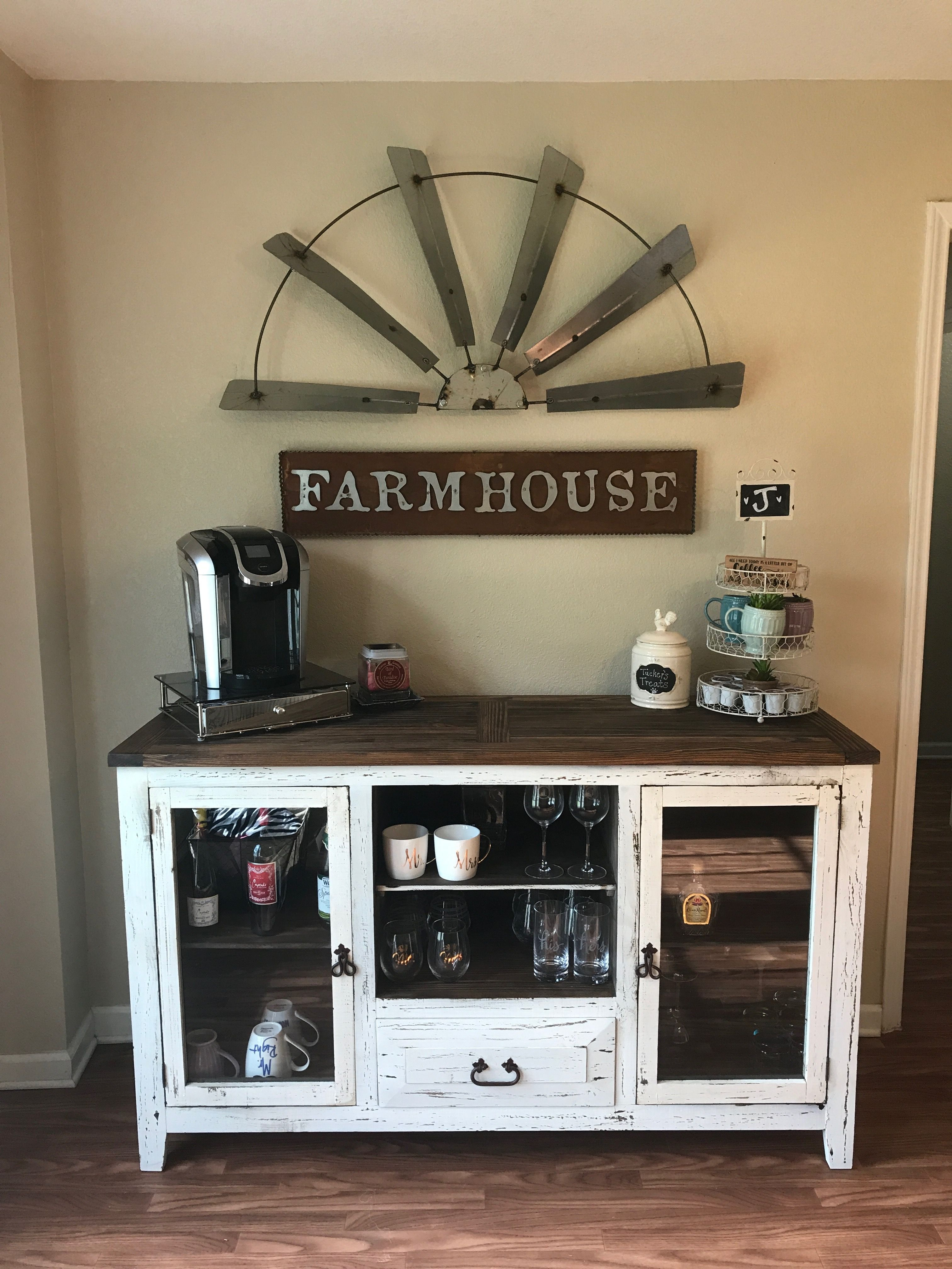 Farmhouse coffee bar with a half sized windmill