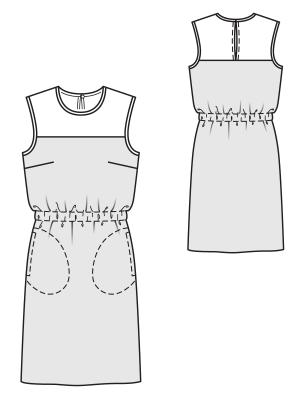 Illusion Neckline Dress Pattern Flat Line Drawing Www Sewingavenue Com Met Afbeeldingen Kleding Maken Kleding Tekenen