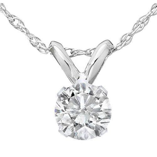 ".35 Ct Solitaire Natural Diamond Pendant & 18"" Chain 14K White Gold #Pompeii3Inc #Pendant"