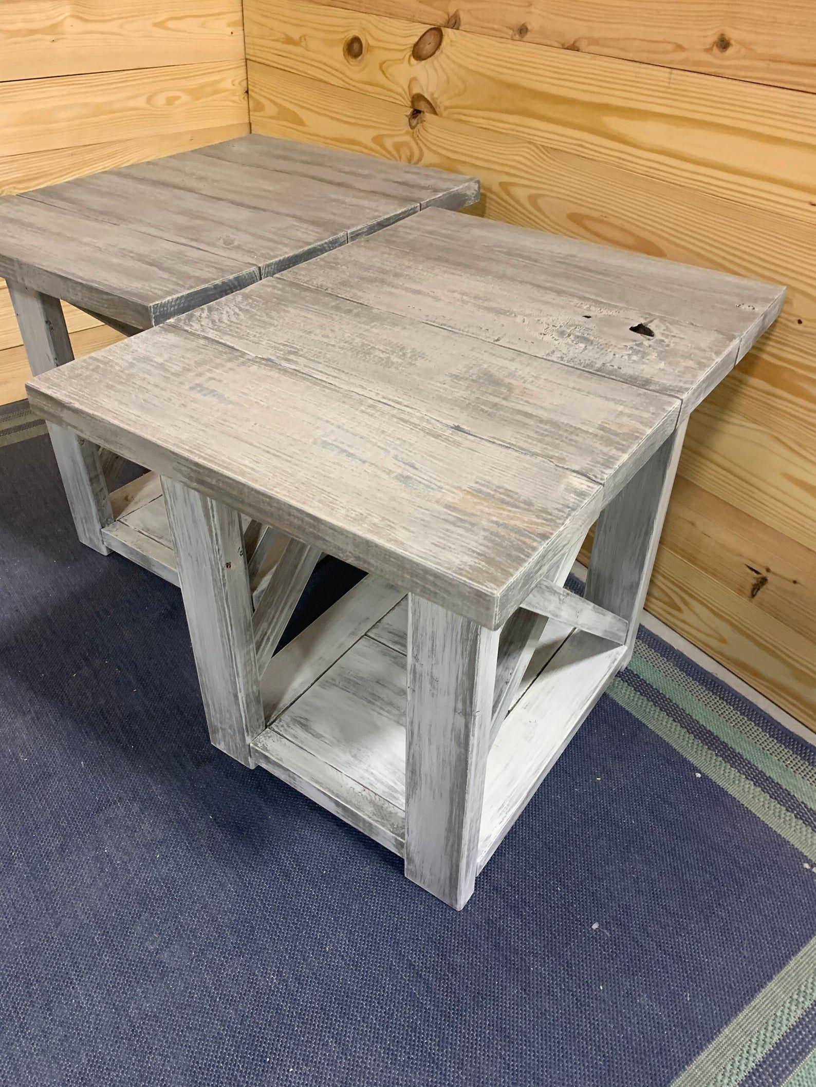 Long Rustic Farmhouse End Tables Gray White Wash Top With A Etsy In 2021 Farmhouse End Tables Rustic End Tables Coffee Table Farmhouse [ 2117 x 1588 Pixel ]