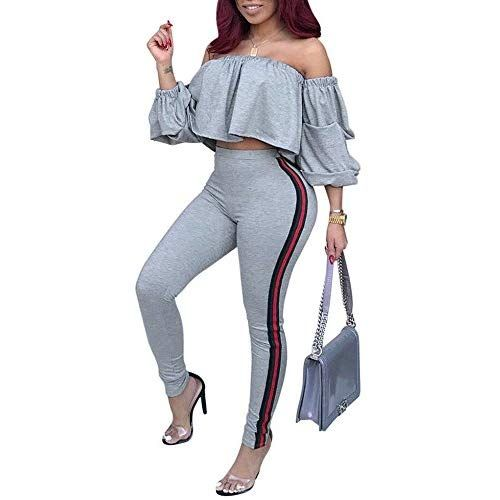 7f4c0345ab7 Remelon Womens Sexy Off Shoulder Ruffle Puff Sleeve Striped Bodycon 2 Piece  Outfits Jumpsuits Crop Top and Pants Set Gray S