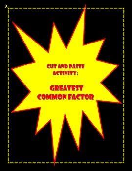 Greatest Common Factor Gcf Activity Greatest Common Factors Common Factors Factors