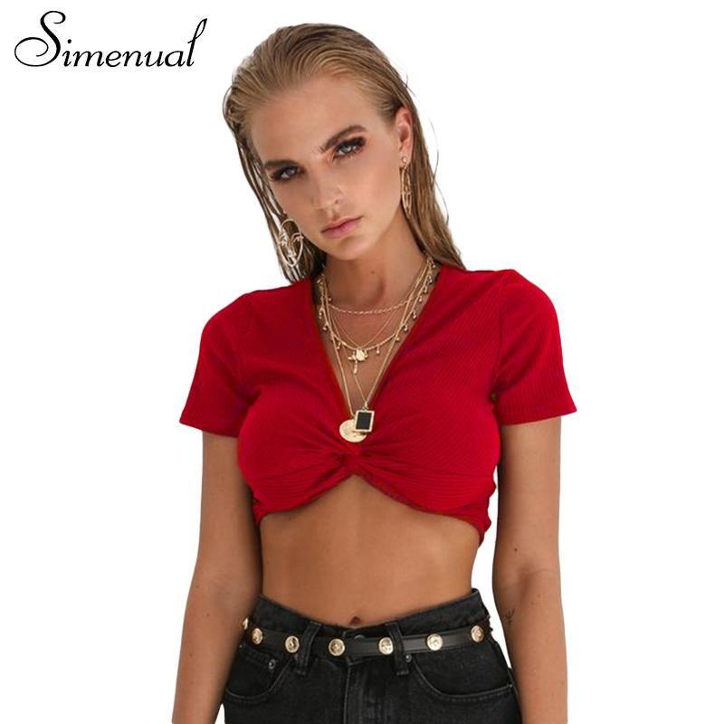 21d1b9d52536b5 Simenual Deep v neck t-shirts women summer 2018 short sleeve sexy hot red crop  top female t-shirt fashion slim tee shirt femme  fresh  freshstellar   stellar ...