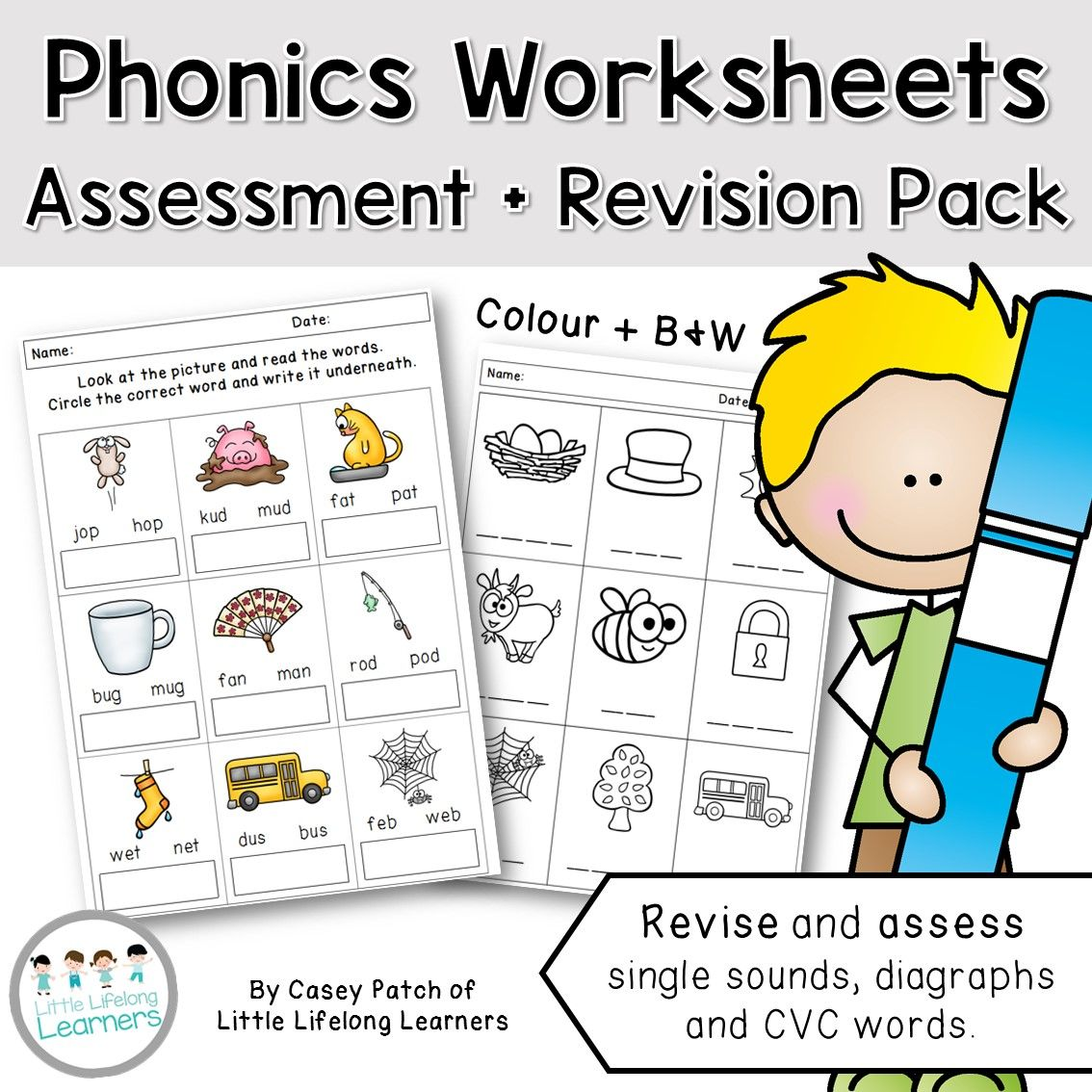 Phonics Worksheets And Assessment Packet