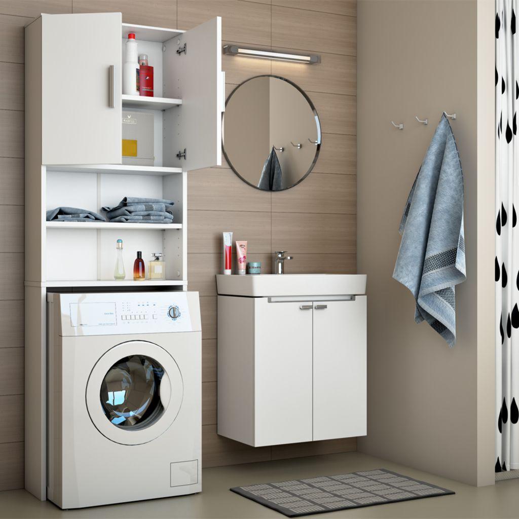 VICCO Waschmaschinenschrank Weiß 190 X 64 Cm   Badregal Hochschrank Waschmaschine  Bad