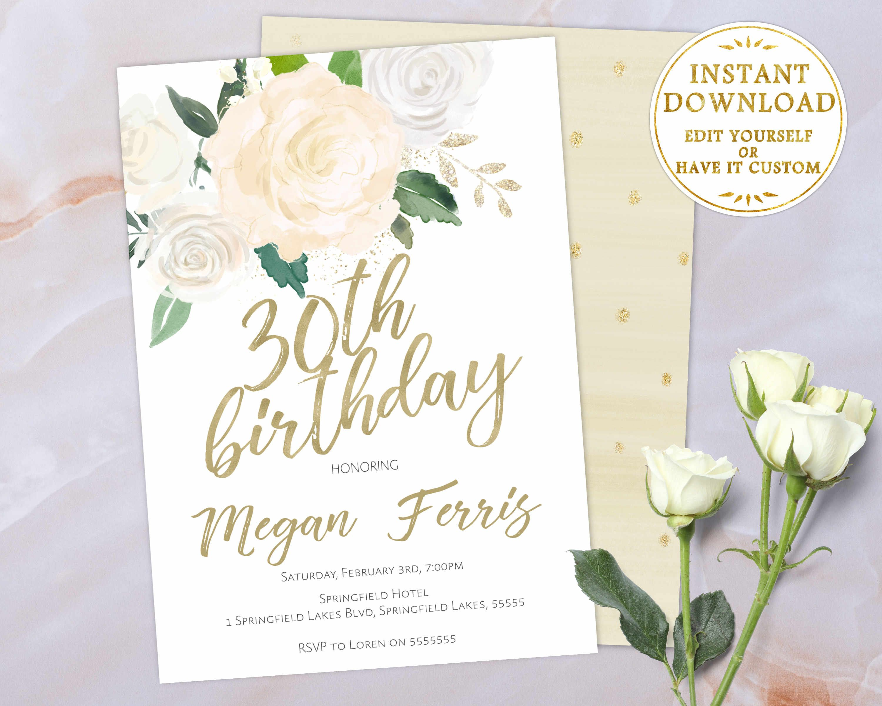 30th Birthday Invitation Editable PDF Template White Ivory Gold Watercolor Flowers