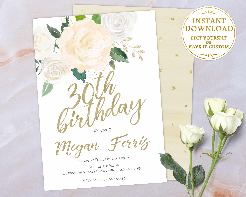 30th birthday invitation editable pdf template whiteivory gold 30th birthday invitation editable pdf template whiteivory gold watercolor flowers birthday filmwisefo