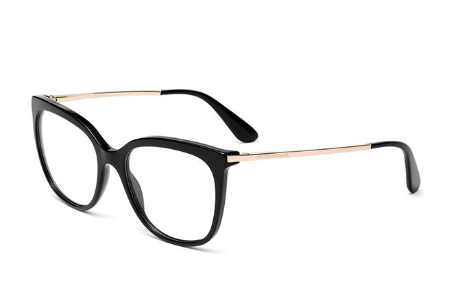 50b4c24b9db Squared eyeglasses for women DG3259 with black acetate frame and slim rose  gold metal temples. Discover the collection by Dolce Gabbana.