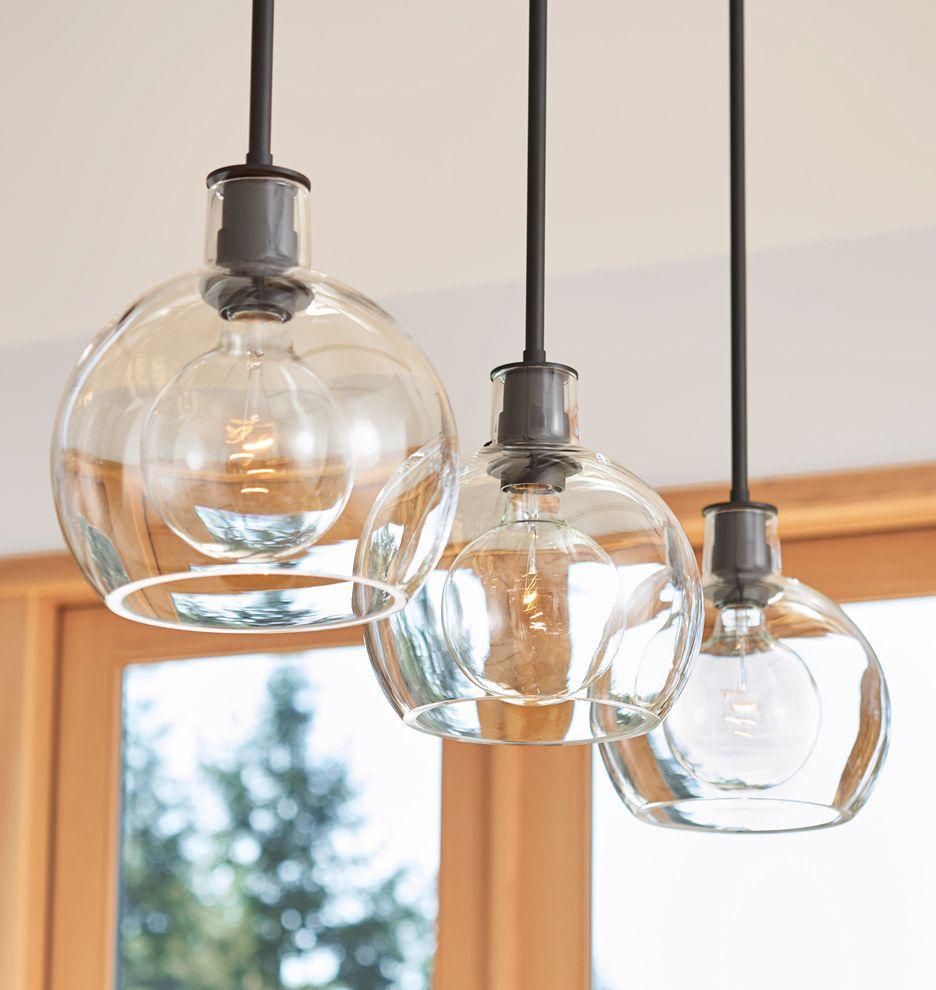 Edendale 9 Clear Glass 3 Light Multipendant Rejuvenation Kitchen Lighting Design Glass Pendants Kitchen Pendant Lighting