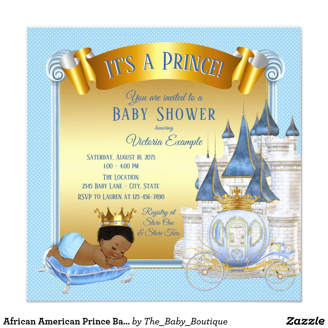 African American Prince Baby Shower Invitations Prince Baby Shower