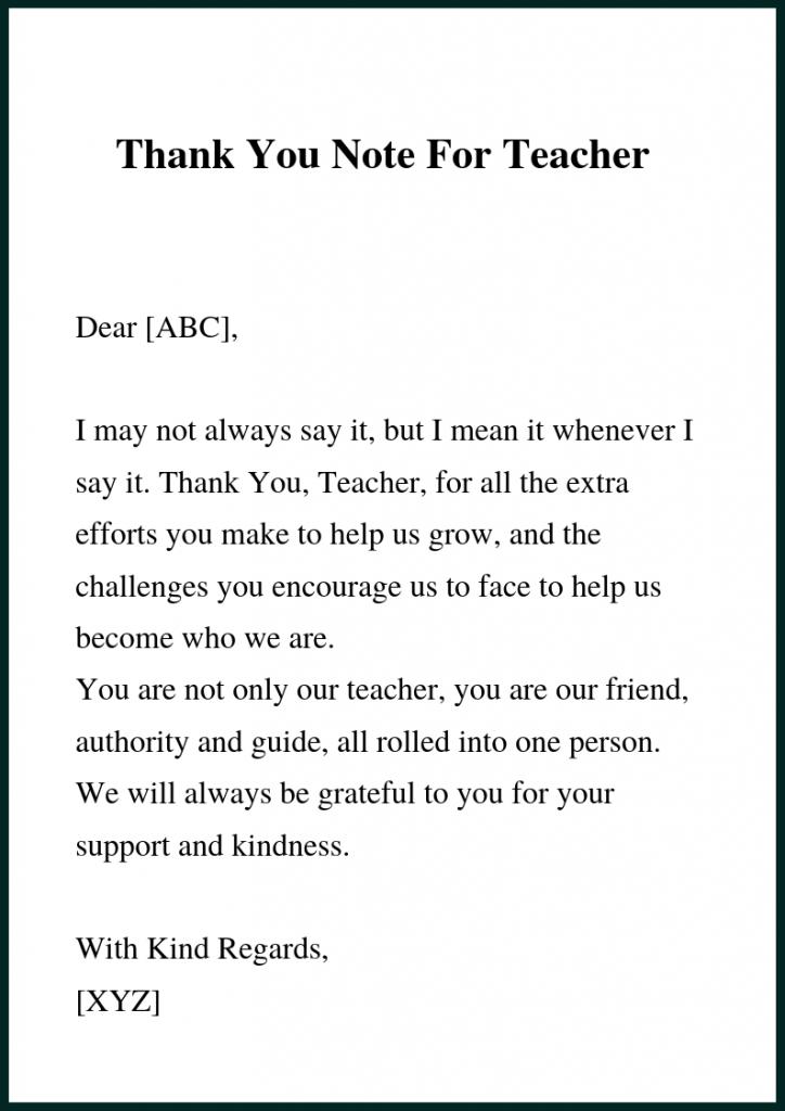 Short Thank You Letter For Teacher Letter to teacher