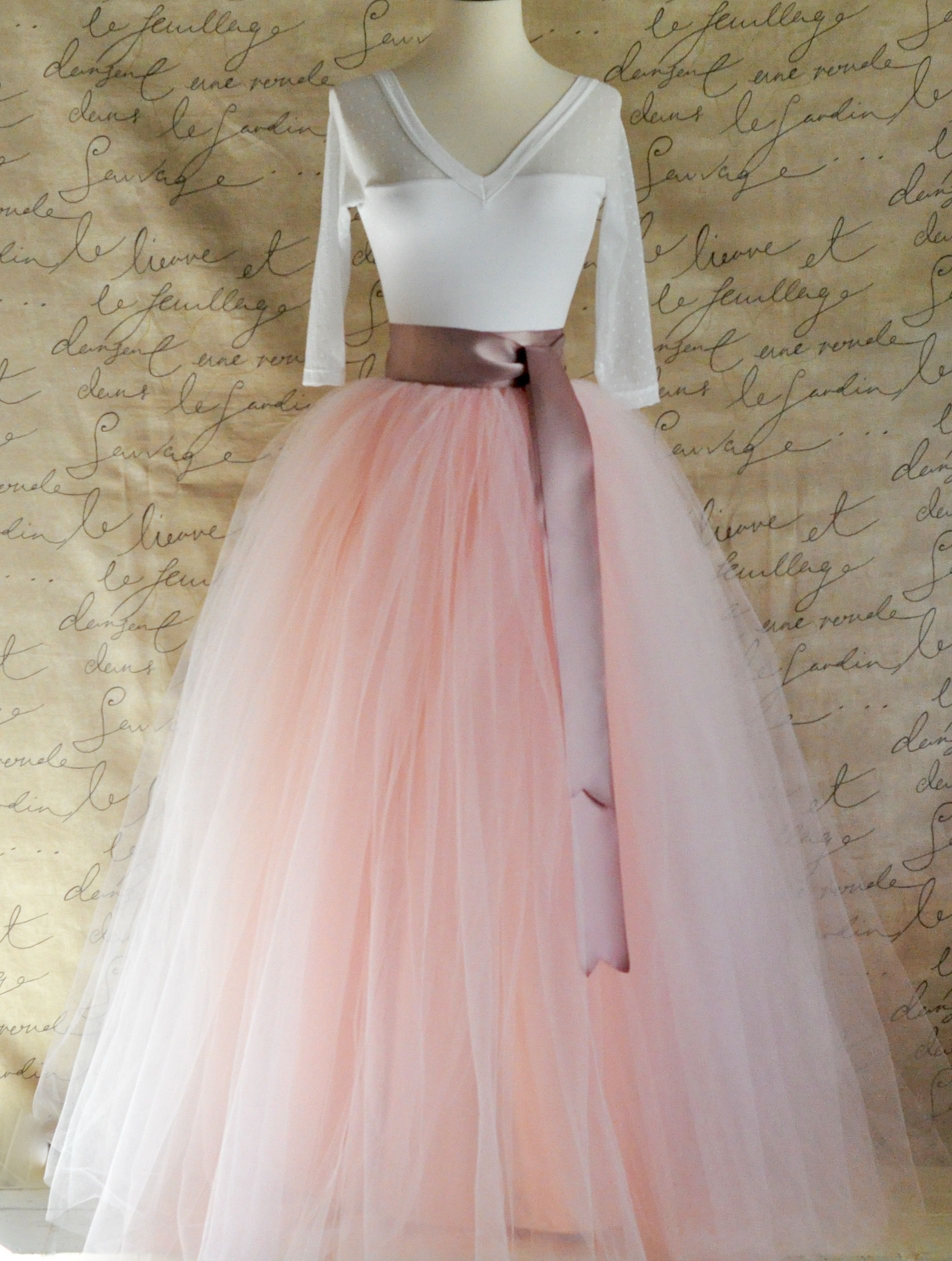 Full length tulle skirt for women in light pink and antique pink ...