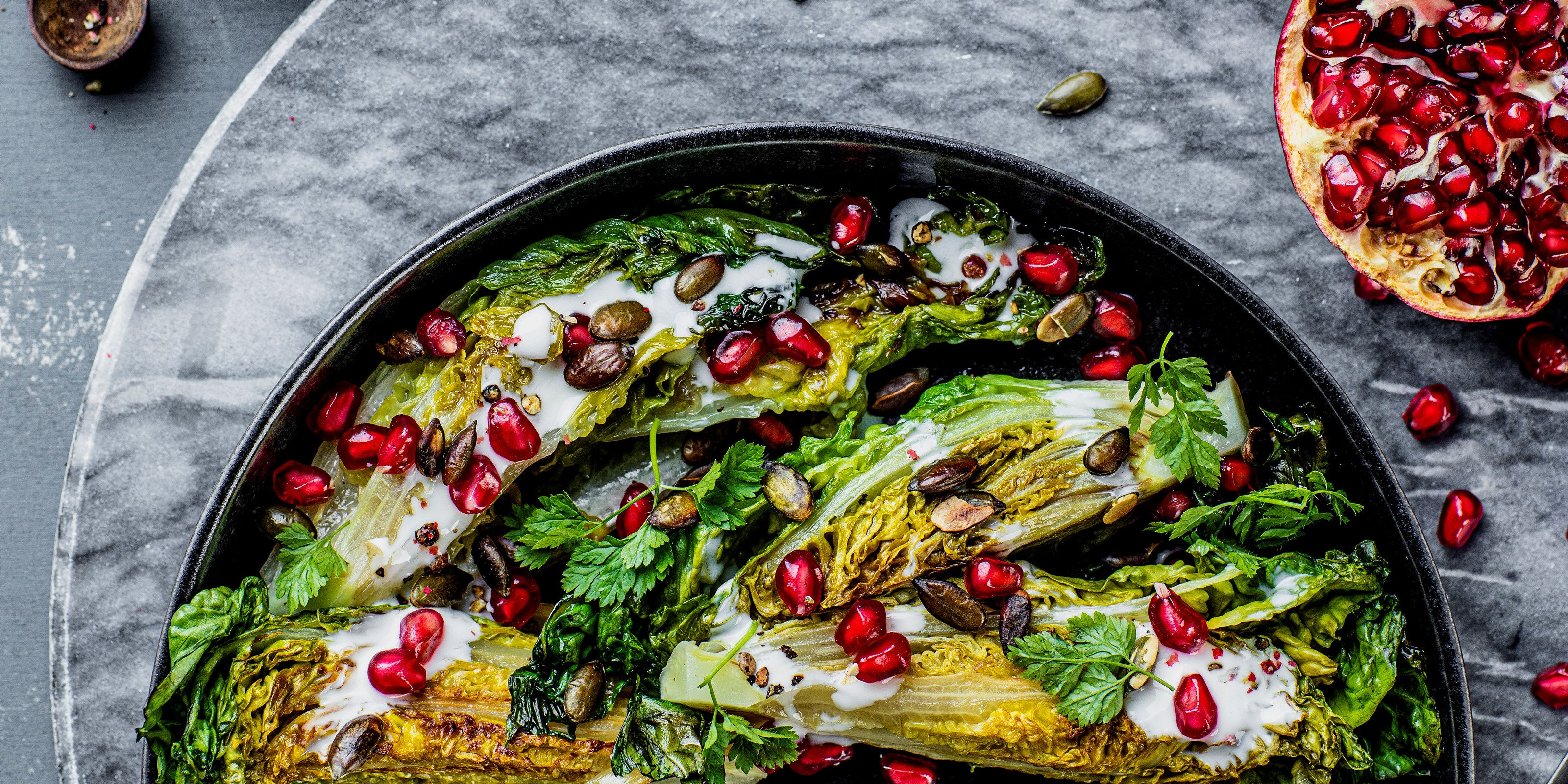 Photo of Fried heart salad with kefir dressing, pomegranate and grass pie …
